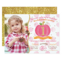 Pink Pumpkin Fall First 1st Birthday Invitation