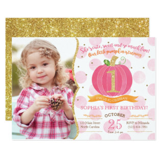 Pink Pumpkin Fall First 1st Birthday Invitation at Zazzle