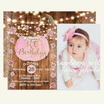 Pink Pumpkin Fall Rustic Lights 1st Birthday Photo Invitation