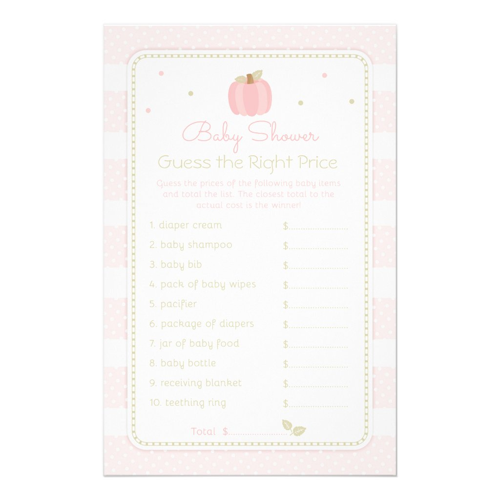 Pink Pumpkin Guess the Price Baby Shower Game Flyer
