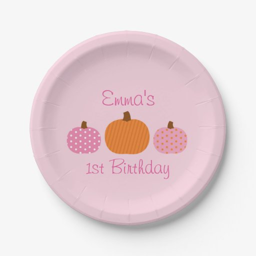 Pink Pumpkin Personalized Birthday Paper Plates