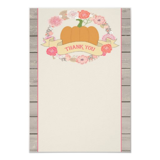 Pink Pumpkin Rustic Floral Thank You Card