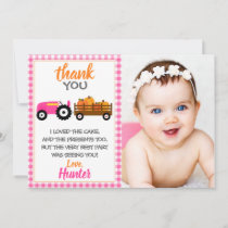 Pink Pumpkin Tractor Thank You Card