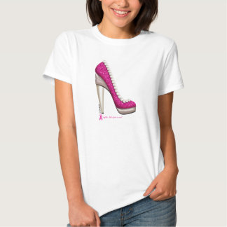 Pink Pumps Shoe Graphic T-Shirt For Breast Cancer