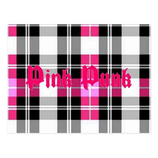 Pink Punk Pink Plaid Postcard