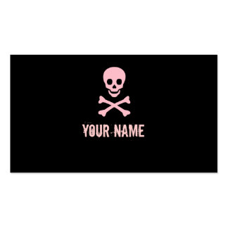 Pink punk skull crossbones customizable cards business card template