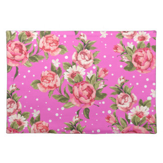 Pink Puny Peonies Cloth Placemat