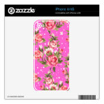 Pink Puny Peonies Skins For iPhone 4