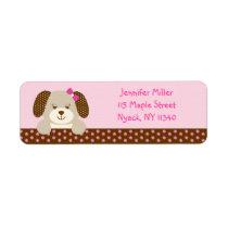 Pink Puppy Baby Shower Address Label