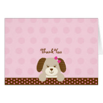 Pink Puppy Baby Shower Thank You Card