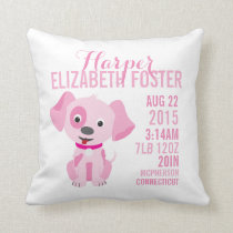 Pink Puppy Birth Announcement Nursery Pillow