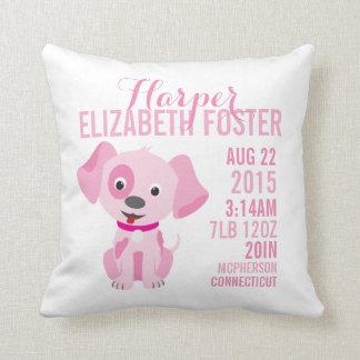 Pink Puppy Birth Announcement Nursery Pillow