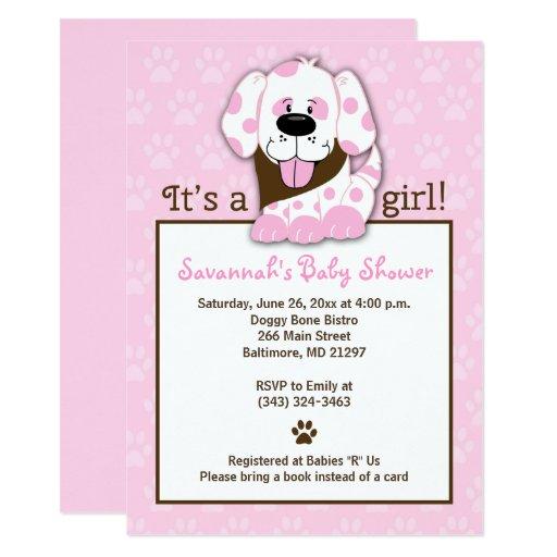 Pink Puppy Dog Girl Baby Shower Invitation