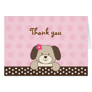 Pink Puppy Dog Thank You Note Cards