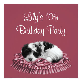 Pink Puppy Girl's 10th Birthday Party 5.25x5.25 Square Paper Invitation Card