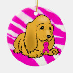 Pink Puppy Double-Sided Ceramic Round Christmas Ornament