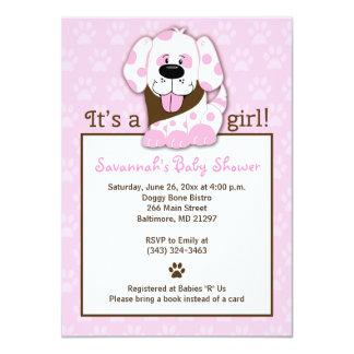 "Pink Puppy Paw Print Baby Shower Invitation 4.5"" X 6.25"" Invitation Card"
