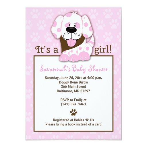 Pink Puppy Paw Print Baby Shower Invitation