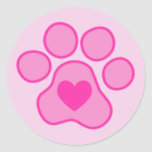 Pink Puppy Paws Heart Sticker