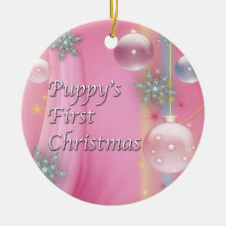 Pink Puppy's First Christmas Dog Tree Ornament