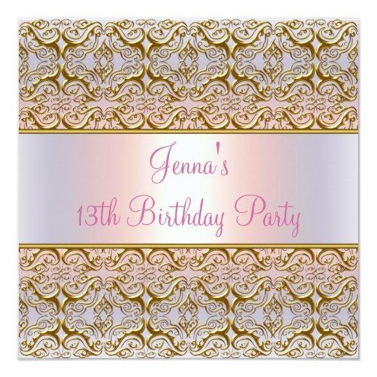 Pink Purple 13th Birthday Party Invitation 13th
