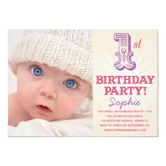 PINK & PURPLE 1ST  | FIRST BIRTHDAY INVITATION