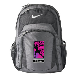 Pink Purple Abstract Tennis Girl Personalized Nike Backpack