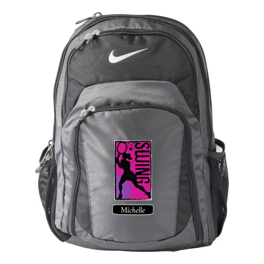 Pink Purple Abstract Tennis Girl Personalized Nike Backpack  0e1b8bf36d76e