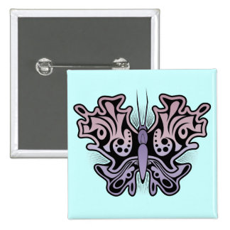 Pink Purple Abstract Tribal Butterfly Button