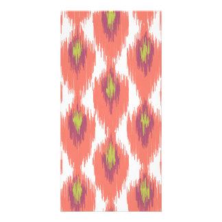 Pink Purple Abstract Tribal Ikat Diamond Pattern Card
