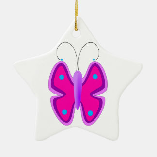 Pink, Purple, and Blue Butterfly Ceramic Ornament