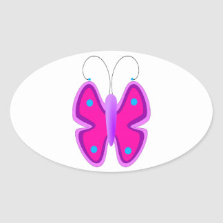 Pink, Purple, and Blue Butterfly Oval Sticker