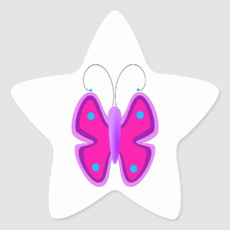 Pink, Purple, and Blue Butterfly Star Sticker