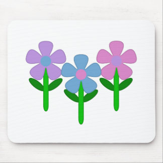 Pink Purple and Blue Flowers Mouse Pad