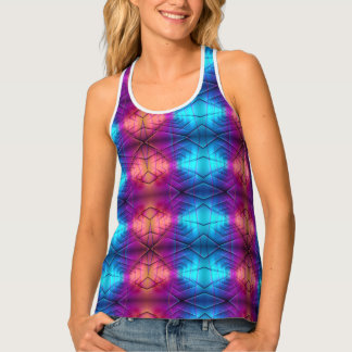 Pink, Purple And Blue Gradient Pattern Tank Top