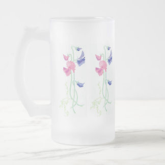 Pink, Purple and Blue Hand-painted Sweet Peas Frosted Glass Beer Mug
