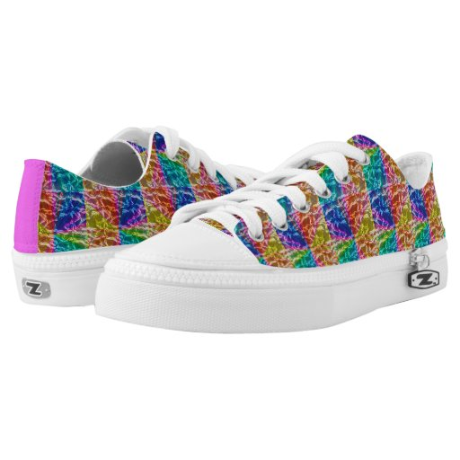 pink purple and blue low top sneakers printed shoes zazzle