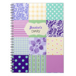 Pink, Purple And Green Personalized Girly Diary Spiral Notebook at Zazzle