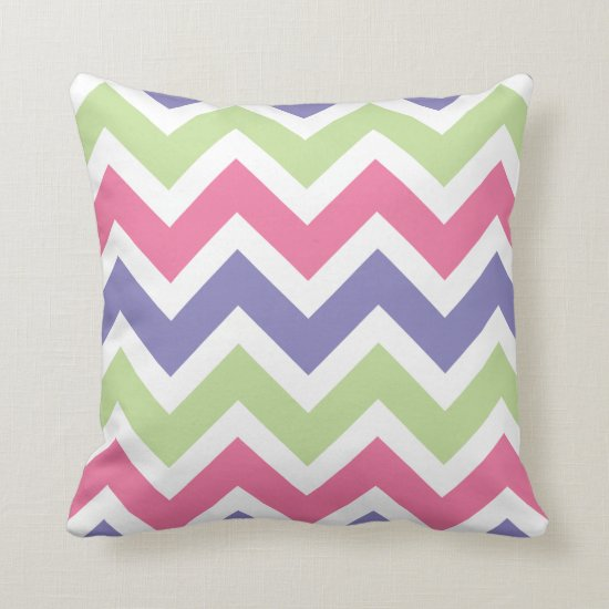 Pink Purple and Pale Green Chevron Pattern Throw Pillow