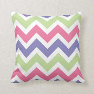 Pink, Purple, and Pale Green Chevron Pattern Throw Pillow