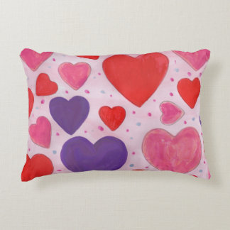 Pink Purple and Red Valentine's Day Hearts Decorative Pillow
