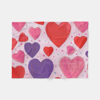 Pink Purple and Red Valentine's Day Hearts Fleece Blanket