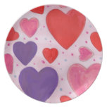 Pink Purple and Red Valentine's Day Hearts Dinner Plate