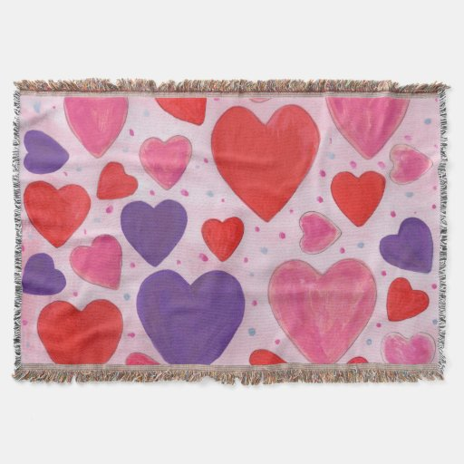 Pink Purple and Red Valentine's Day Hearts Throw Blanket