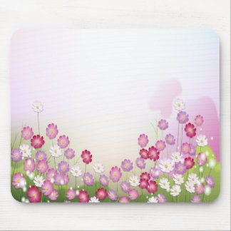Pink Purple and White Flowers Mouse Pads