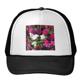 pink purple and white pansys trucker hats