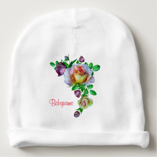 Pink, Purple and Yellow Roses Personalized Baby Beanie