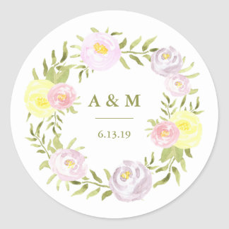 Pink Purple and Yellow Watercolor Roses Wedding Classic Round Sticker