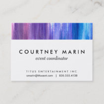 Pink purple aqua paint strokes watercolor painting business card