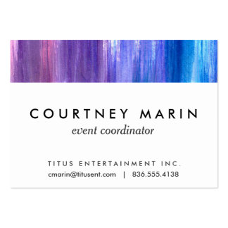 Pink purple aqua paint strokes watercolor painting large business cards (Pack of 100)